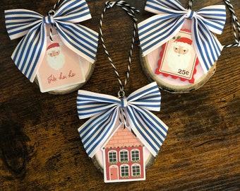 Christmas Mini Ornament, Christmas Decor, Cute Winter Wood Ornament, Whimsical Ornament, Pink Christmas Decorations