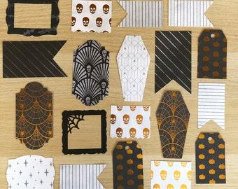 Halloween Ephemera, Frames, Black & Gold Journaling Cards, Planner Accessories, Card Making, Scrapbook Supplies
