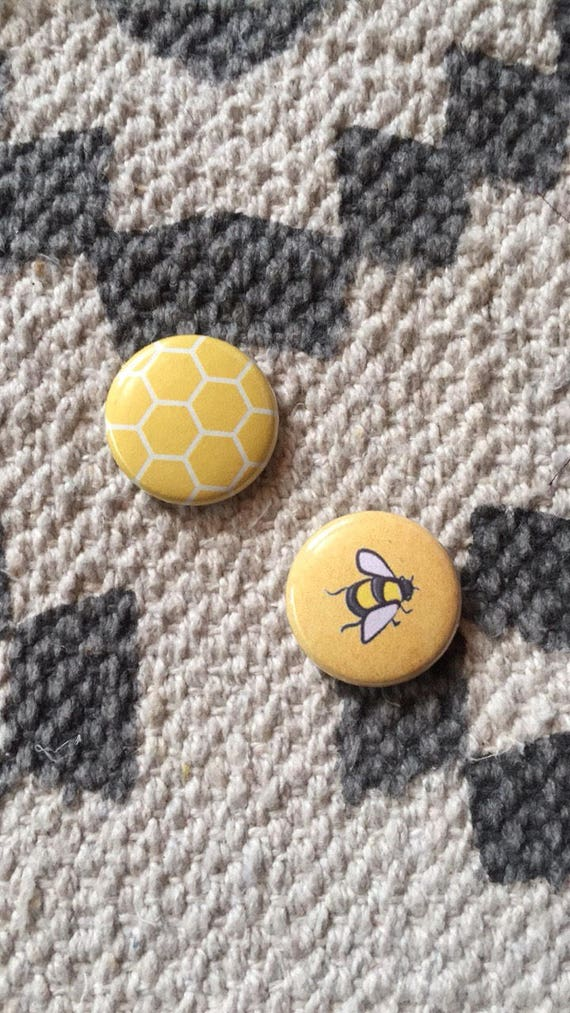 Honeycomb And Bee // Button Pin Set // Valentine's Day by Etsy