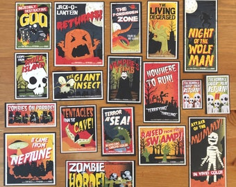 Halloween Horror Film Ephemera, Journaling Cards, Planner Accessories, Card Making, Scrapbook Supplies, Journal Kit