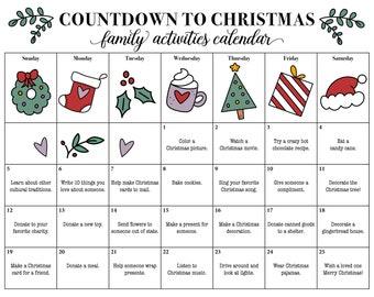 Cute Printable Christmas Countdown, Christmas Calendar, Advent Calendar, Family Christmas Activities, Christmas Giving, Season Of Giving