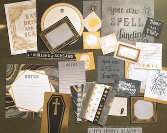 Black & Gold Journaling Cards, Halloween Ephemera, Planner Accessories, Card Making, Scrapbook Supplies