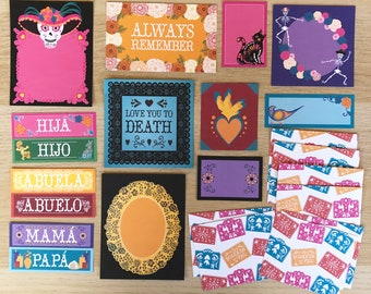 Day of the Dead Ephemera, Journaling Cards, Planner Accessories, Card Making, Scrapbook Supplies, Journal Kit, Dia de los Muertos