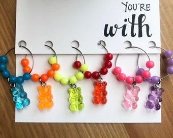 Gummy Bear Wine Charms, Neon Rainbow Charms, Summer Wine Night, Valentines Day, BFF Gifts, Stocking Stuffer, Cute Drinkware