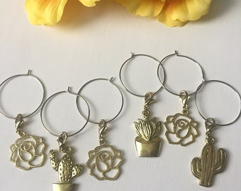 Gold Succulent Wine Charms // Set of 6