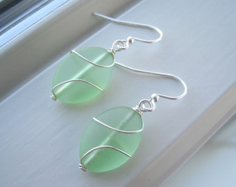 Light Green Earrings - Green Glass Earrings - Cultured Sea Glass Jewelry - Wire Wrapped Earrings - Wire Wrapped Jewelry - Oval Earrings