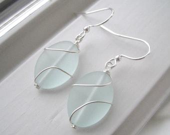 Sea Foam Green Earrings - Green Glass Earrings - Cultured Sea Glass Jewelry - Wire Wrapped Earrings - Wire Wrapped Jewelry - Oval Earrings