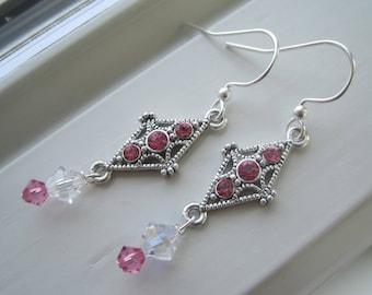 Pink Rhinestone Jewelry - Hot Pink Earrings - Swarovski Crystal Jewelry - Pink Dangle Earrings