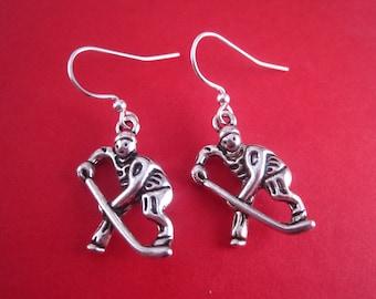 Hockey Earrings - Hockey Jewelry - Winter Olympics Earrings - Winter Jewelry - Olympics Jewelry - Charm Earrings - Skating Earrings