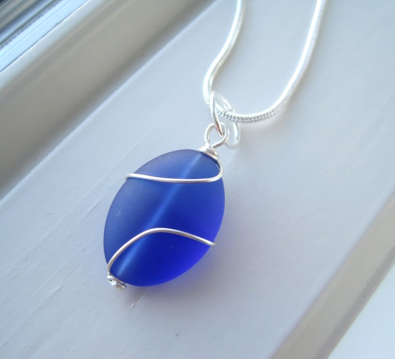 Royal Blue Jewelry Blue Glass Cobalt Blue Necklace Wire Wrapped Bridesmaid Necklace Frosted Glass Jewelry Pendant Necklace