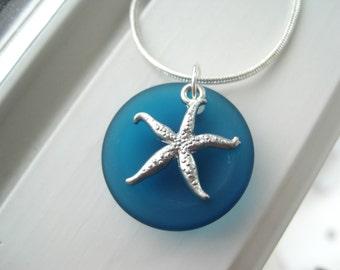 Starfish Necklace - Starfish Jewelry - Teal Jewelry - Teal Necklace - Cultured Sea Glass Jewelry - Beach Jewelry - Recycled Glass Jewelry