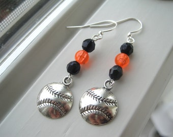 Baseball Earrings - Charm Earrings - Softball Jewelry - Charm Jewelry - Black and Orange Earrings - Custom Baseball Jewelry - Mom Baseball