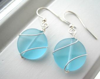 Aqua Blue Sea Glass Earrings - Wire Wrapped Earrings - Circle Earrings - Sea Glass Jewelry - Bridesmaid Set - Small Earrings - Wire Jewelry