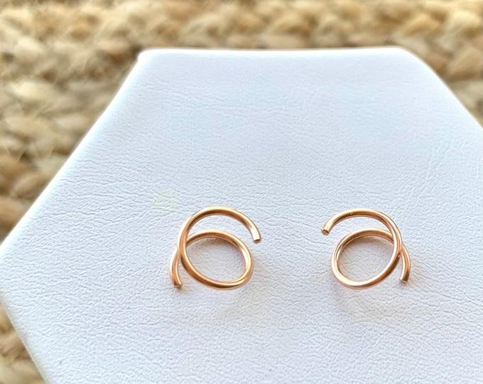 Genuine Rose Gold Tiny Twist Hoop Earrings, Rose Gold Mini Hoops, Rose Gold Filled Small Huggie Hoop Earrings, Rose Gold Sleeper Earrings