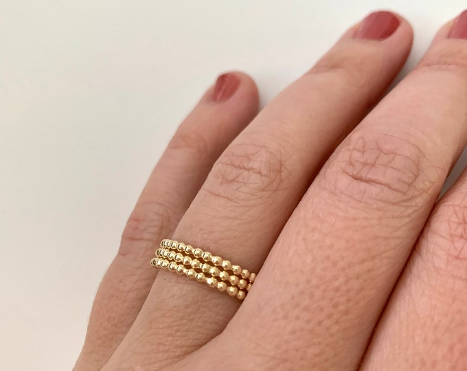 14K Gold Fill Stacking Rings, Thin Gold Ring Set, Gold Bead Stacking Ring Set of 3 Textured Gold Rings, Homemade Rings Indie Rings Tiny Gold