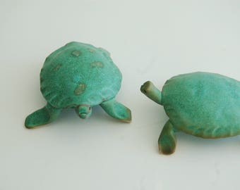 Sea turtle,ceramic,green glazed with poem, small