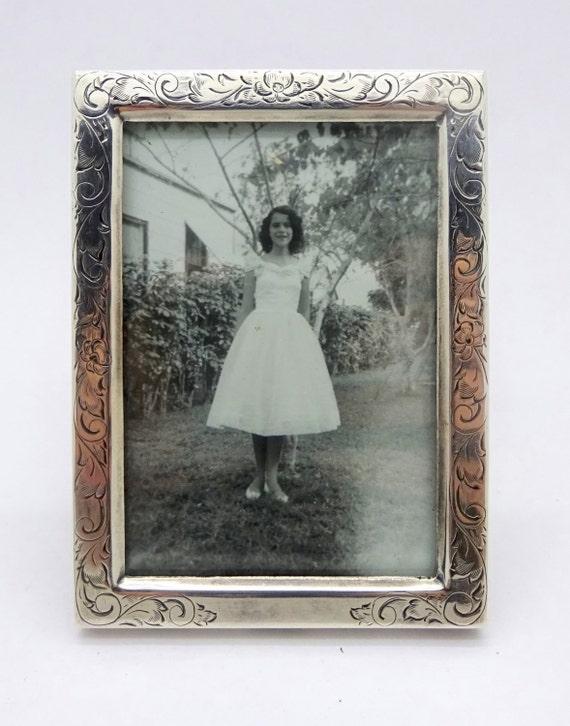 Antique Sterling Silver Frame Art Deco Era Etched Floral Etsy