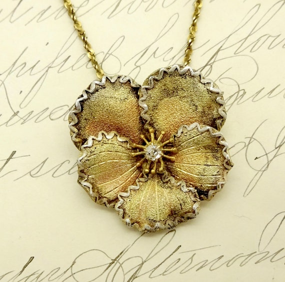 Antique DIAMOND PANSY PENDANT Gilt Sterling Silver