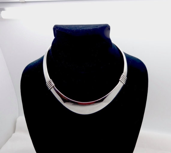 Mid Century Silver Choker Collar Modernist Silver Mother Of Pearl Choker Collar Necklace Vintage Sterling Silver Choker Collar Necklace