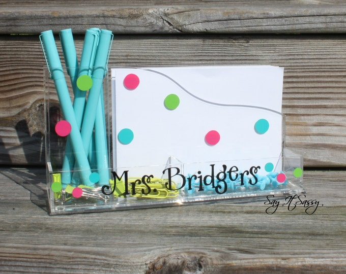 Personalized Desk Organizer with Polka Dots, Teacher Gift, Teacher Desk Accessory, Personalized Desk Caddy, Office Organizer, Memo Pad