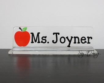 Personalized Desk Name Plate -Teacher Gift- Apple Nameplate- Teacher Appreciation- Desk Accessory- Acrylic Name Plate-Desk Decor- Desk Plate