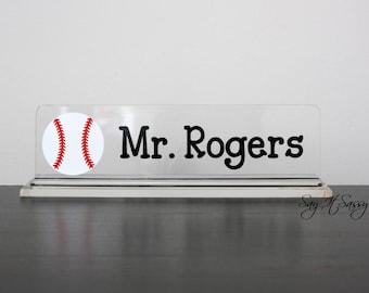 Personalized Desk Name Plate- PE Teacher- Nameplate- Male Teacher Gift- Sports Desk Accessory - Baseball- Football - Hockey - Soccer