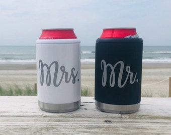 Mr. and Mrs. Can Coolers, Honeymoon Gift, His and Hers Can Coolers, Wedding Gift, Bride and Groom Gift, Newly Wed Gift