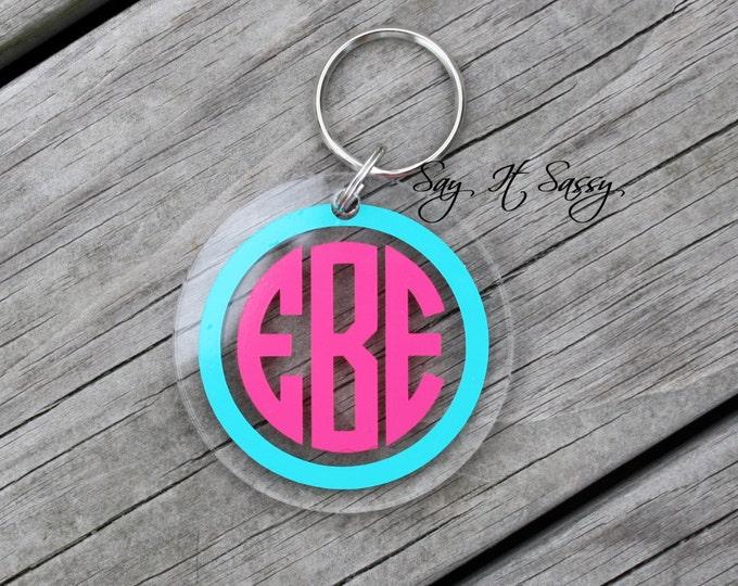 Circle Monogram Keychain-Acrylic Keychain-Personalized Key Chain-Personalized Keychain-Monogrammed Keychain-Round Keychain