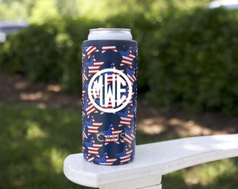 Skinny Can Cooler - Stars and Stripes Can Hugger - American Flag Can Cooler - July 4th - Stainless Steel Can Cooler - Patriotic Gift