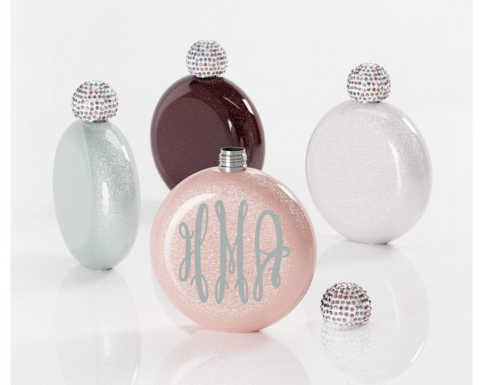 Flask- Personalized Flask - Glitter Flask- Monogram Flask for Women- Bachelorette Party- Bridal Party Gift- Bridesmaid Gift - Round Flask