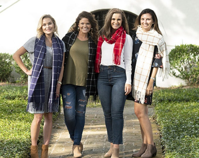 Plaid Scarf, Personalized Scarf,  Monogrammed Scarf, Blanket Scarf, Navy Plaid Scarf, Black Plaid Scarf, Creme Plaid Scarf, Red Plaid Scarf,