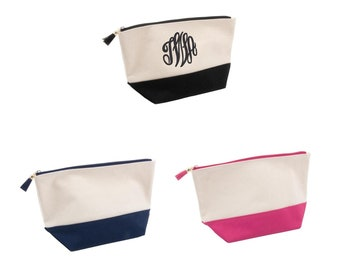 Monogrammed Canvas Makeup Bag - Bridesmaid Gifts - Personalized Canvas Cosmetic Bag