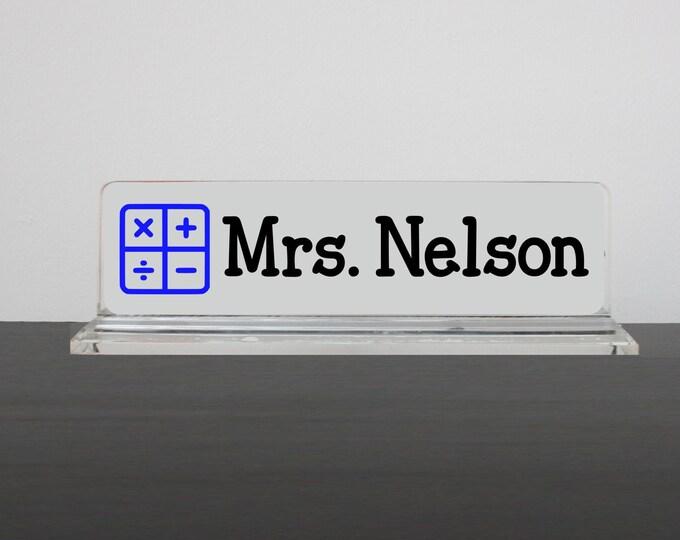 Personalized Desk Name Plate, Math Teacher, Nameplate, Teacher Gift, Algebra Teacher Desk Accessory, Math Name Plate