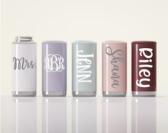 Personalized Skinny Can Cooler, Seltzer Can Cooler, Bridesmaid Gift, Stainless Steel, Slim Can Cooler, Skinnies, Insulated Beverage Holder