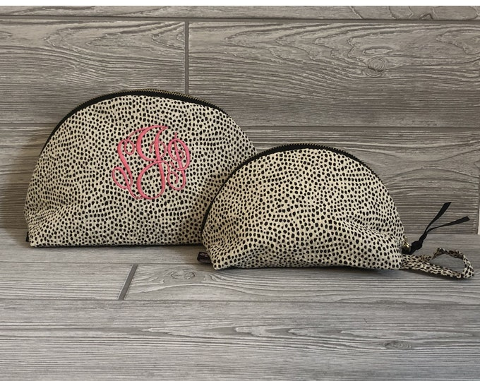 Cheetah Zipper Bag, Makeup Bag, Wristlet Zipper Bag