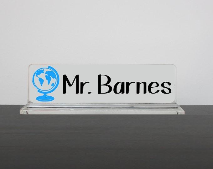Personalized Desk Name Plate, Social Studies Teacher, Nameplate, Teacher Gift, History Teacher Desk Accessory, Globe Name Plate