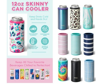 Skinny Can Cooler - 12 ounce Skinny Can Hugger - Personalized Can Cooler - Drink Sleeve - Stainless Steel Can Cooler - Leopard Can Cooler