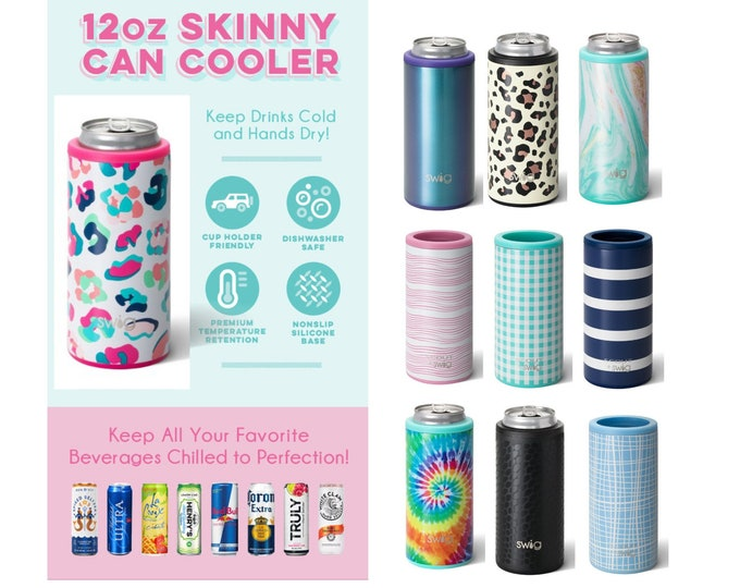 Featured listing image: Skinny Can Cooler - 12 ounce Skinny Can Hugger - Personalized Can Cooler - Drink Sleeve - Stainless Steel Can Cooler - Leopard Can Cooler