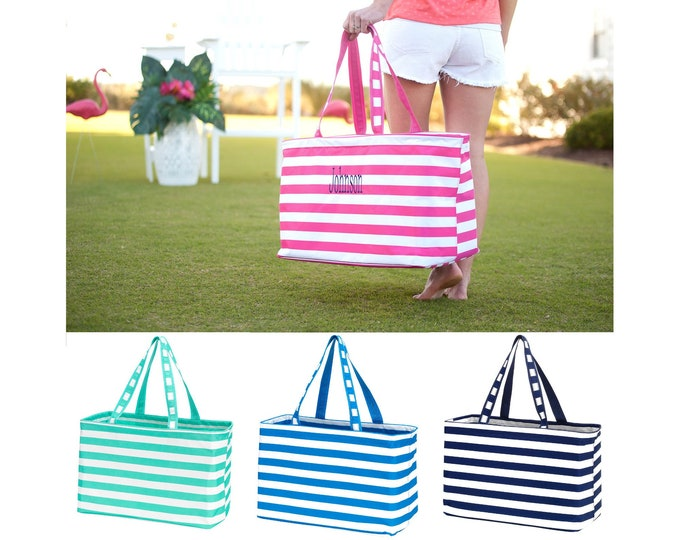 Monogrammed Ultimate Tote - Oversized Tote - Stripe Tote