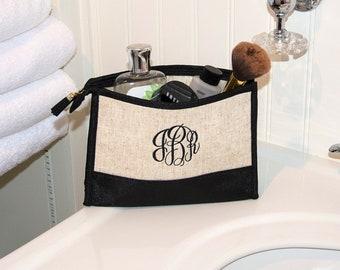 Linen Cosmetic Bag, Monogrammed Linen Makeup Bag, Bridesmaid Gifts, Bridal Party Gifts