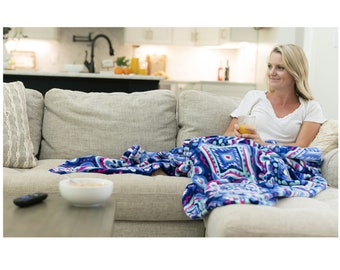 Blue Gypsea Blanket - Monogrammed Blanket - Personalized Plush Blanket - Personalized Throw