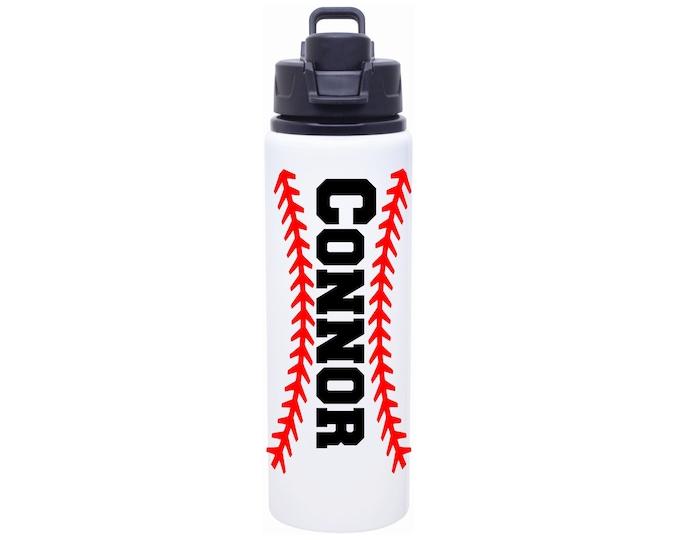 Baseball Water Bottle - Baseball Laces Water Bottle Personalized