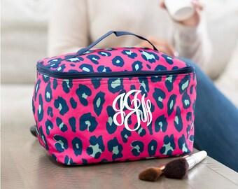 Monogrammed MakeUp Bag, Pink Leopard Make Up Bag, Cosmetic Bag, Train Case, Pink Leopard Cosmetic Bag, Toiletry Bag, Gifts for Her