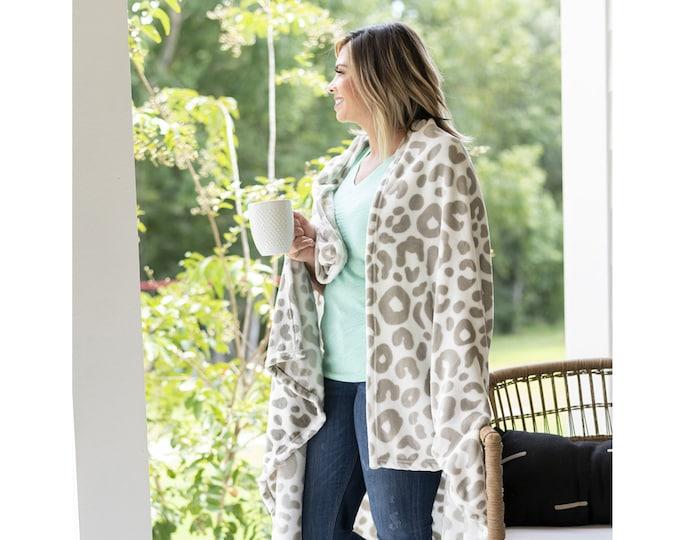 Leopard Monogrammed Blanket, Personalized Plush Blanket, Natural Leopard Throw, Neutral Leopard Throw Blanket