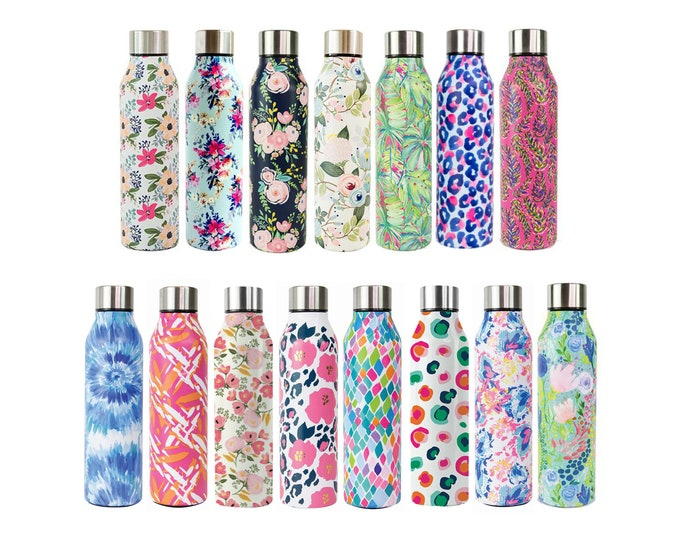 Floral Water Bottle, Floral Stainless Steel Water Bottle, Personalized Stainless Waterbottle, Leopard Water Bottle, Monogram Water Bottle
