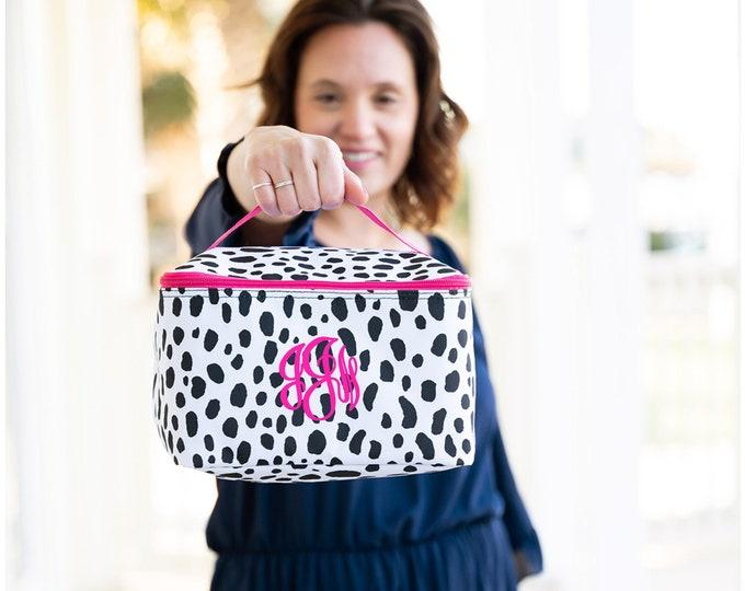 Train Case Black and White, Monogrammed  MakeUp Bag, Polka Dot Bag, Personalized Cosmetic Bag, Spots Make Up Bag, Travel Makeup Case, Dots,