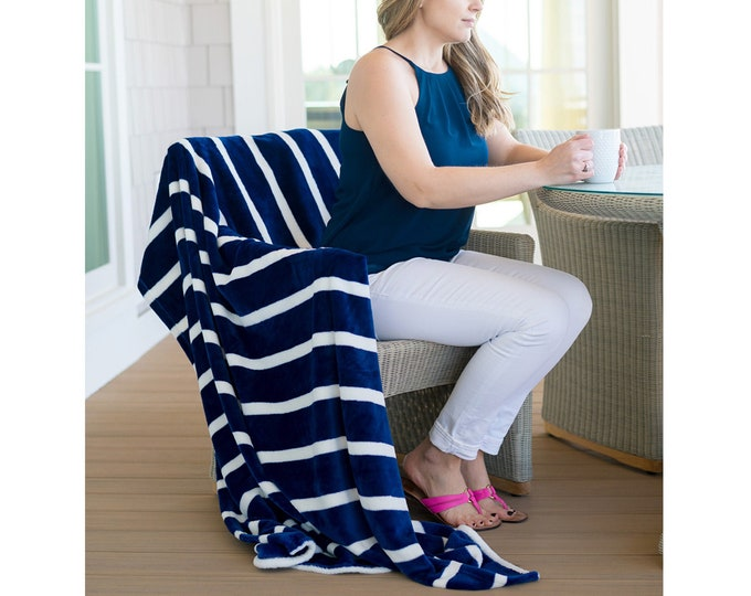 Navy Stripe Blanket, Navy Plush Blanket, Monogrammed Blanket, Stripe Throw