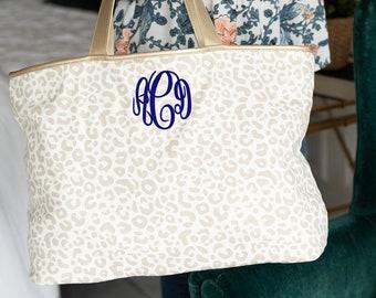 Leopard Tote Bag, Monogrammed Leopard Tote Bag, Natural Leopard Print, Gold Leopard Bag, Gold Tote Purse, Cheetah Weekend Bag, Beach Bag