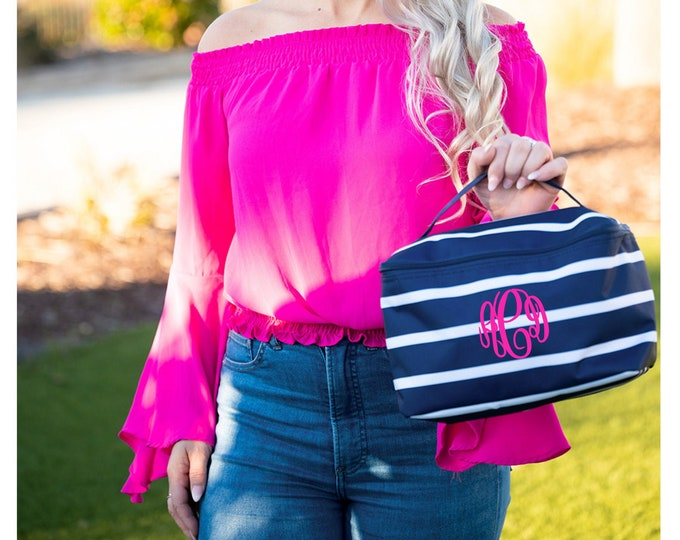 Navy Stripe Train Case, Monogrammed  MakeUp Bag, Personalized Cosmetic Bag, Make Up Bag, Travel Makeup Case