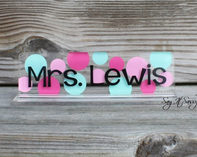 Personalized Name Plate- Personalized Nameplate- Acrylic Name Plate- Teacher Gift- Desk Name Plate- Desk Nameplate-Desk Decor-Desk Accessory